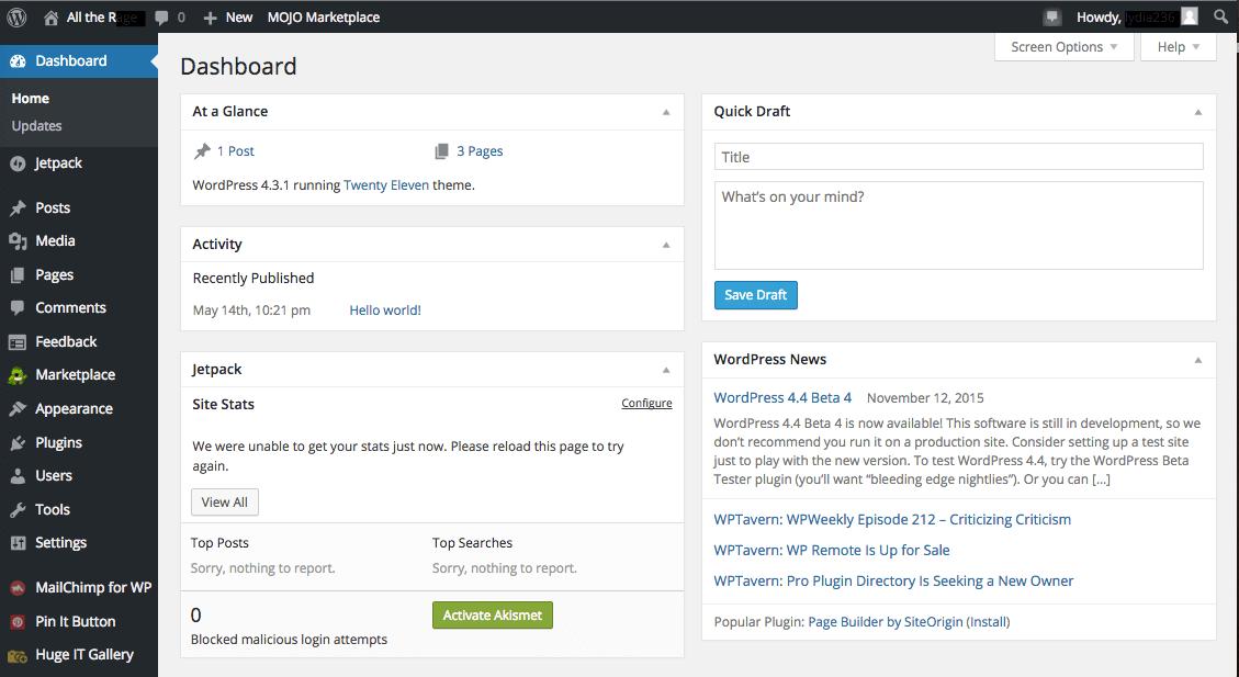 WordPress Dashboard - HTMLPanda